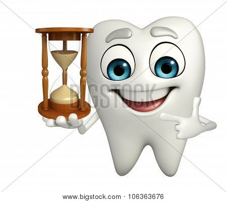 Teeth Character With Sand Clock