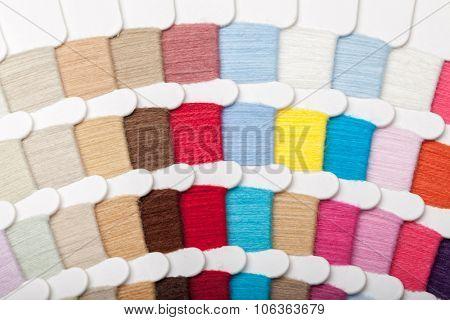 Yarn thread sample  swatches close-up