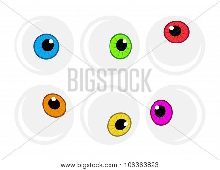 Halloween Eyeball Vector Symbol Set. Colorful Cartoon Clipart Pupil, Eye Illustration Isolated On Wh
