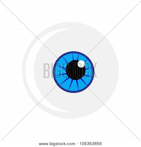 Halloween Eyeball Vector Symbol. Blue Eye Illustration Isolated On White Background.