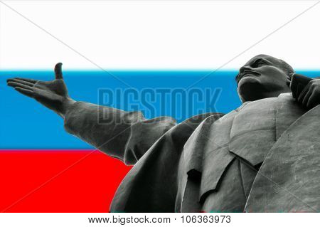 Statue Of Lenin With Russian Flag