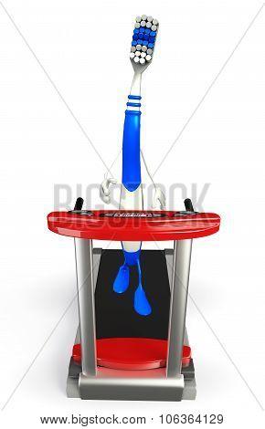 Toothbrush Character With Walking Machine