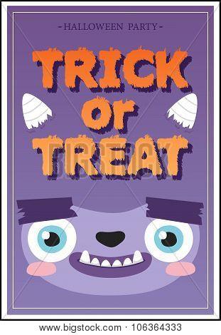 Trick or Treat flyer. Vector Illustration.