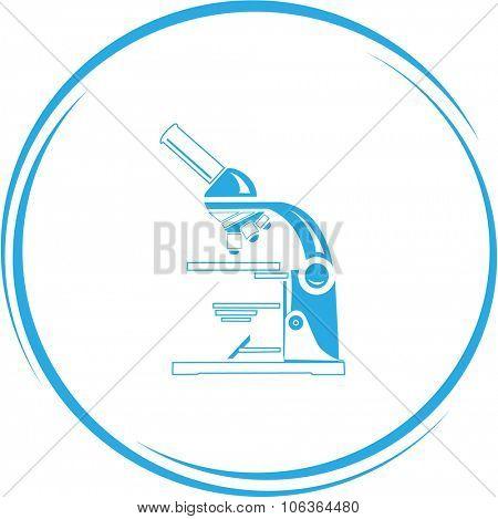 lab microscope. Internet button. Vector icon.