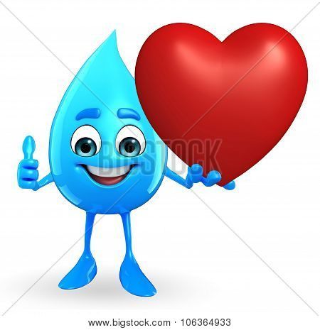 Water Drop Character With Red Heart