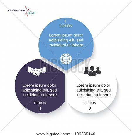 Vector Infographic Circles Business  Template For  Project Or Presentation With Three Segments