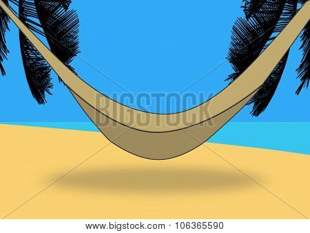 Hammock On A Deserted Tropical Beach