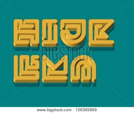 3D Snake Stripe Font Set. H,I,J,K,L,M,N
