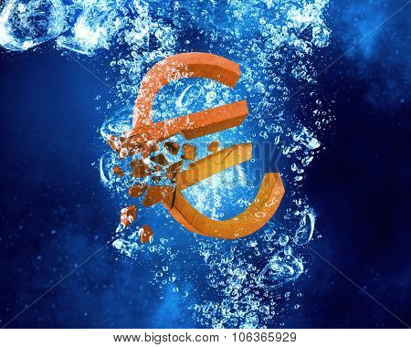 Euro sign sinking in clear blue water