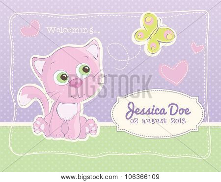 Birth announcement for a baby girl with a pink kitten
