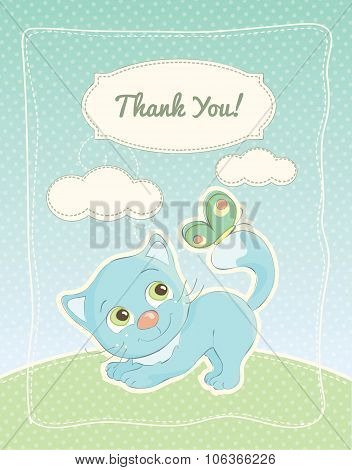Thank You card with a cartoon kitten and a butterfly