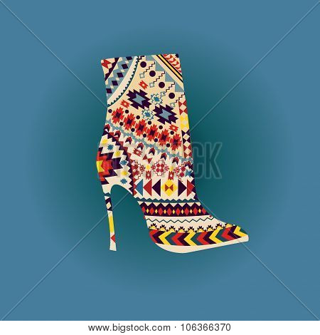 Vector Fashion Beautiful Boot On High Heel.