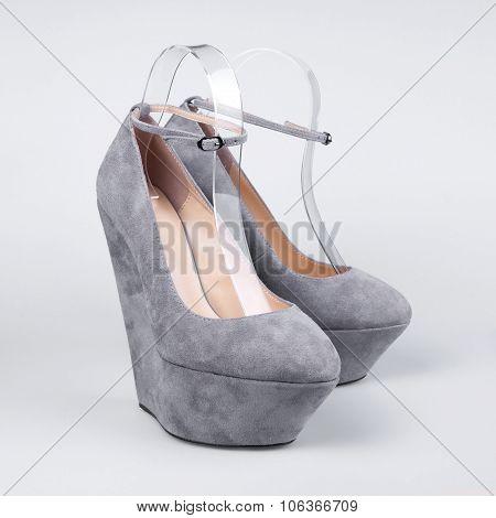 Female stylish shoes over white. Fashion summer