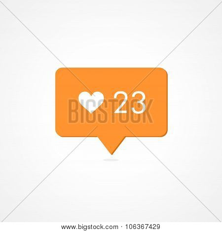 Like Counter Notification Orange Icon