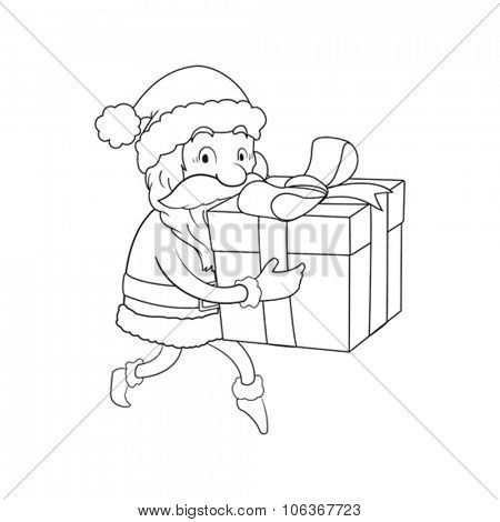 Sneaking Santa Line cartoon illustration