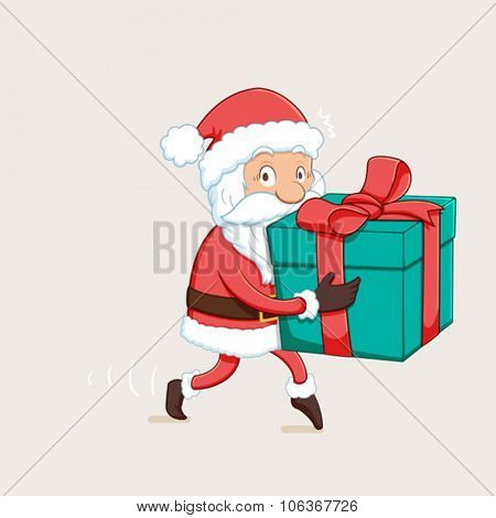 Cartoon illustration of santa claus sneaking with gift