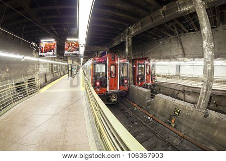 Fisheye Lens Photo Of Mta Train At The Grand Central Terminal.