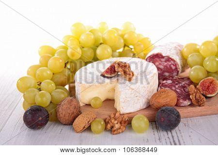 camembert,grape and salami