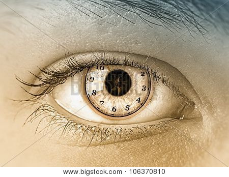 Close up of woman eye with time concept