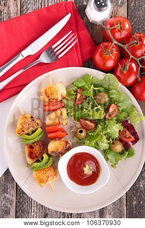 grilled meat and salad