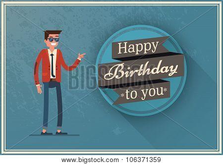 birthday card with a happy man