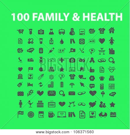 family health, medicine icons set for infographics