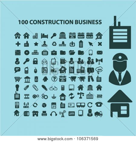 100 construction business, technology, real estate icons, signs set for infographics