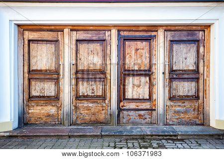 Row Of Four Wooden Doors
