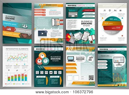 Green And Orange Business Brochure Template With Infographic