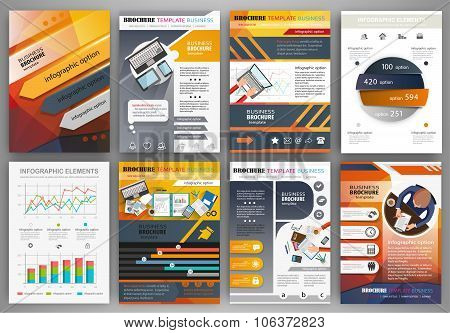 Orange And Grey Brochure Template With Infographic Elements