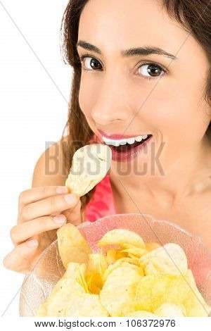 Close Up Of Woman Eating Chips