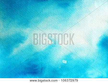 Abstract Blue Sky Watercolor Background.
