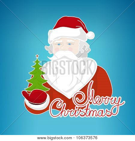 Santa Claus Holds  Green Christmas Tree
