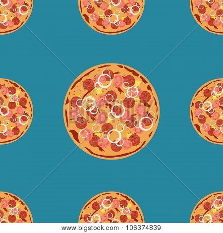 Vector Pizza Seamless Pattern. Can Be Used To Design Menu, Business Cards, Posters, Decorating Shop