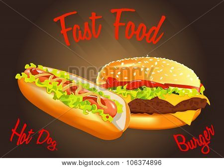 Fast Food Vector Illustration. Burger And Hot Dog