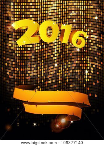 New Years Golden Tiles Wall With Text And Banner