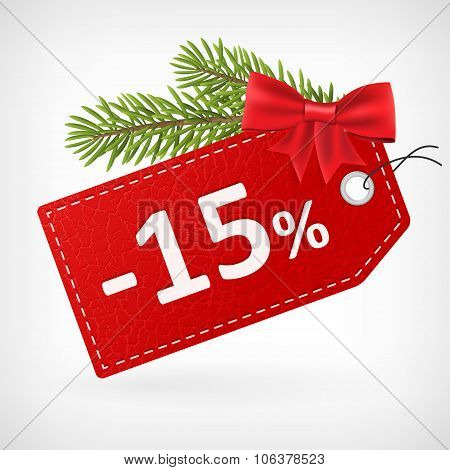 Red Leather Price Christmas Labels 15 Percent Sale Off