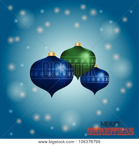 Christmas Baubles Over Blue Glowing Background