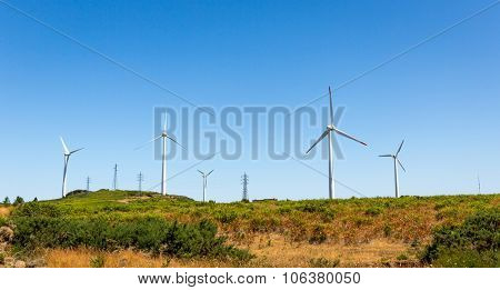 Windmills in the green valley against blue sky
