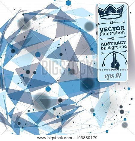Graphic web background with spot elements and connected dots mesh vector abstract