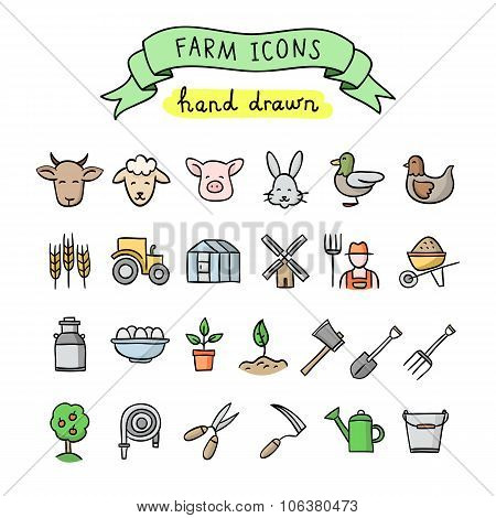 Hand drawn farm icons: gardening, cattle breeding, animals, birds, seeds, plants, trees. Vector outl