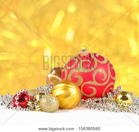 Golden Silver And Red  Christmas Decorations