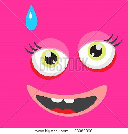 Pink monster face cartoon personage.