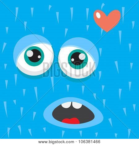 Blue monster face cartoon personage.