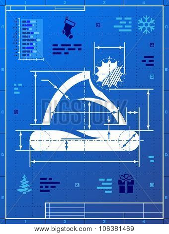 Santa Hat Like Blueprint Drawing