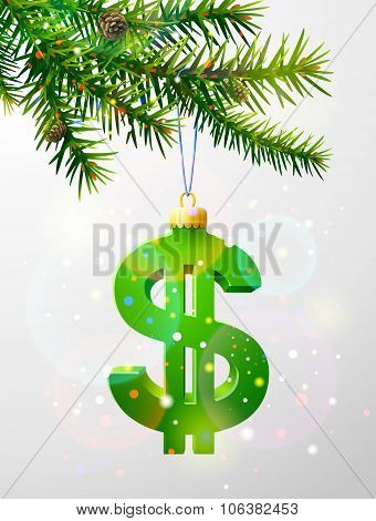 Christmas Tree Branch With Decorative Dollar Symbol