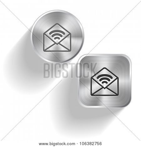 open mail with sound. Raster set steel buttons