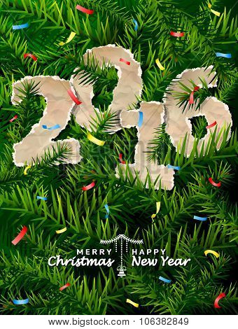 New Year 2016 Of Crumpled Paper Between Pine Branches