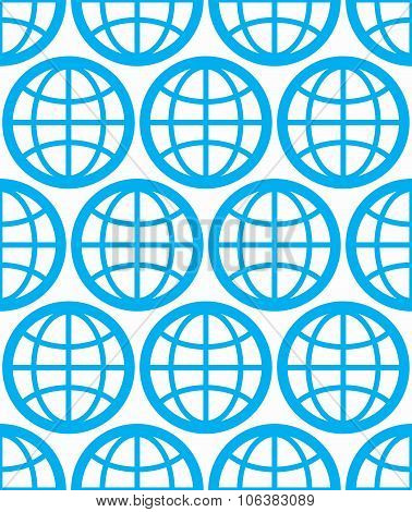 Globes Seamless Vector Background, Planets Conceptual Symbols. Repeated Backdrop With Blue Earth