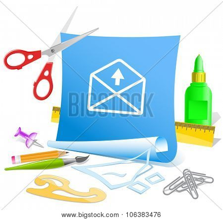 mail up arrow. Paper template. Raster illustration.
